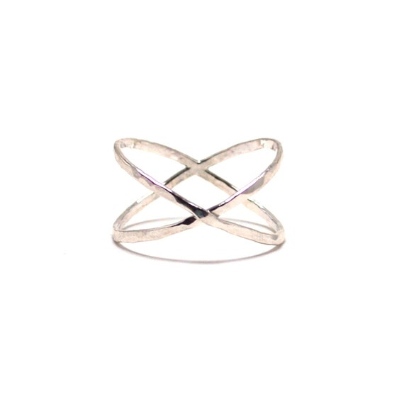 Silver Hammered X Ring. Tall Criss Cross Ring. Statement Ring. X Marks the Spot. Wide Band.