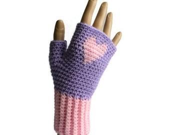 Pink Heart Gloves, Women's Crochet Gloves, Pink Fingerless  Gloves,  FREE UK POST, Non Animal Fibre Gloves, Teens Gloves