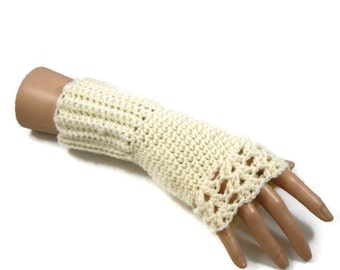 SALE - Ladies Cream Fingerless Gloves - Cream Gloves - Vegan Friendly Gloves - Crocheted Gloves - Mothers Day - Cream Wristwarmers
