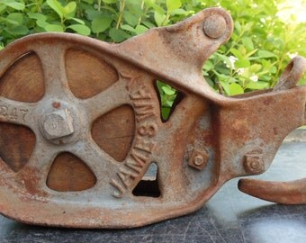 Vintage Barn Pulley Block And Tackle Pulley Cast Iron Steel and Wood made by Jamesway, Farm Rusty Industrial Salvaged