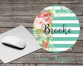 Personalized Mouse Pad - Watercolor Roses - Desk Accessory - Monogrammed Mouse Pad