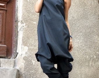 New Collection AW/15 Black Viscose Jumpsuit / Extravagant 7/8 Drop Crotch Jumpsuit by Aakasha A19229