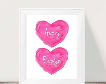 Hot Pink Girls Room Decor, Sisters Hot Pink Wall Decor, Twin Girls, Sisters Wall Art, Twin Sisters, Sisters Print, Hot Pink Girls Room