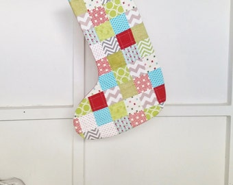 Holiday Stocking, Christmas Decor, Patchwork, Presents, Turquoise (Aqua) Red Green and White Quilted Cotton Lined Christmas Ornament