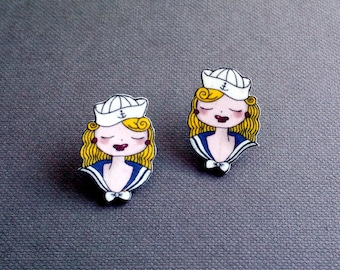 Sailor Girl Stud Earrings: illustrated hey sailor girl charm earrings for pin up & rockabilly lovers, made from acrylic.