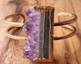 Kamea cuff bracelet - amethyst druzy cuff bracelet, gold bracelet, gold cuff bracelet, amethyst gemstone, mineral jewelry, boho jewelry