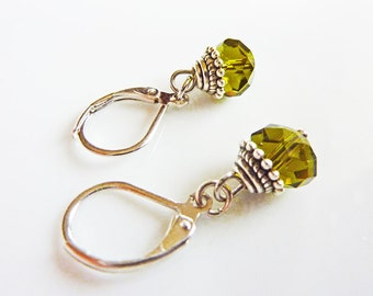Olive Green Dainty Crystal Antique Earrings