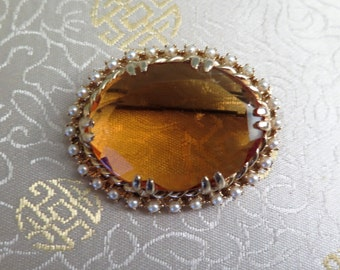 Vintage Jewellery - Vintage Citrine Brooch - Topaz Brooch - Vintage Pearl Brooch - Oval Brooch - Glass Brooch - Large Brooch - Amber Glass