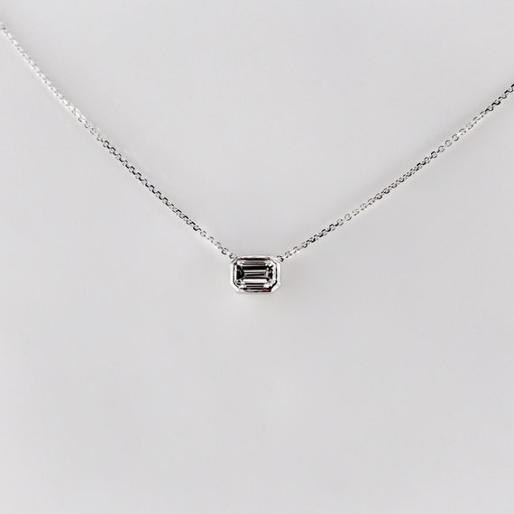 Delicate 14k Gold Emerald Cut Diamond Necklace, .30 ct Layering Necklace