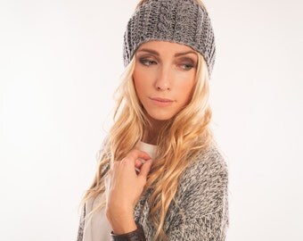 Wide Cable Knit headband Hand knitted head wrap Merino wool, boho ear warmer Winter headband sweater headband Gift idea for Bohemian Woman