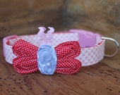 Valentine Dog Collar - Pink Gingham with Red Tiny Dot Butterfly and Grey Center