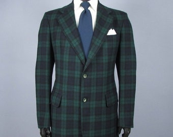 Plaid Sport Coat -- Mens' Vintage 1970s Pendleton Black Watch Tartan Plaid Wool Sport Coat -- Mens Size 40 41 Tall Long