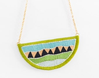 Geometric Hand Embroidered Statement Necklace | Embroidered Necklace | Yellow Green Navy Blue Peace Necklace | Geometric Triangle Necklace