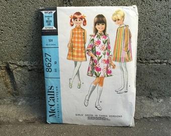 60's McCall's 8627 Pattern Girl Girls' Dress Mod A-Line Size 10 Breast 28