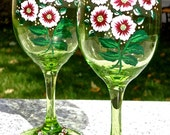 Hand Painted Green Wine Glasses With Crystal Wine Charms, Mothers DayGift, Birthday Gift, Gifts For Her