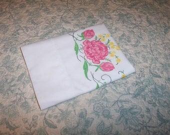 "Vintage Pillowcase ~ White ~ Pink, Green, Yellow Floral Print ~ 19"" x 34"" ~ Shabby Chic ~ Cotton"