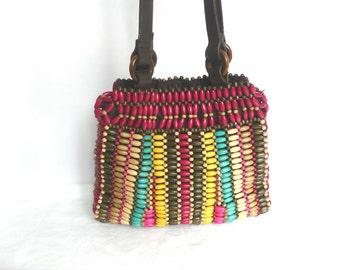 Vintage wooden bead handbag - 1970s bead purse - wooden multi colour bead purse - wooden bead and leather handbag - mid century bead handbag