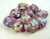 Lampwork Beads, Mauve Floral Lamp Work Beads - Set of 3