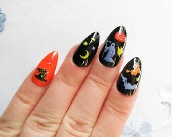 Halloween Stiletto Nails, Halloween Fake Nails, Halloween, Acrylic Nails, False Nails, Press on, Nails, Goth, Orange and Black