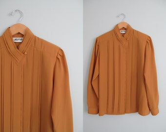 Vtg 80s / 90s Mustard Yellow Billowy Flowy Secretary Blouse with Pleats and Collar Accents \\ MeDiUM // Gold Amber Color ShiRt ToP