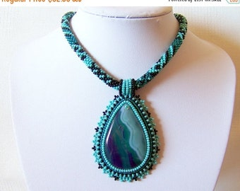15% SALE Bead Embroidery Pendant Necklace with Agate, turquoise, emerald and black, beadwork necklace, beaded jewelry,  turquoise necklace