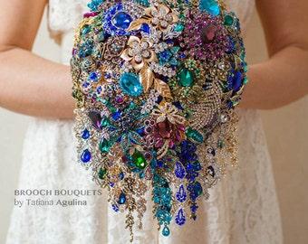 Cascading Brooch bouquet. Purple, Teal, Blue, Gold and Silver wedding brooch bouquet, Jeweled Bouquet