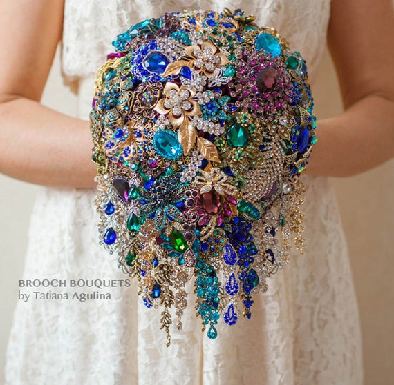 Purple, Teal, Blue, Gold and Silver wedding broach bouquet