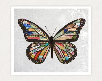 Butterfly Art Print - Butterfly Colorful Collage - Art Print Home Decor