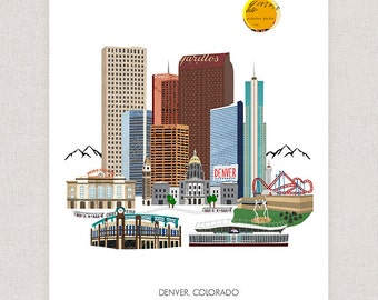 Denver Art Print - Mountain City Collage Illustration Wall Art