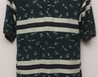 "Rare 90's Vintage ""BUGLE BOY"" Patterned Polo Shirt  Sz: MEDIUM (Men's Exclusive)"