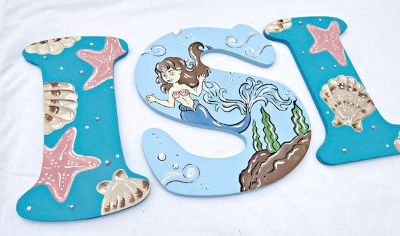 large wooden letters aqua mermaid painted letters mermaid nursery letters pearl 1350