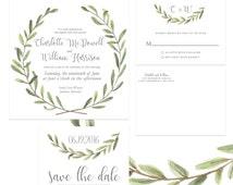 Laurel Wreath Olive Branch Wedding Invitation Digital Package