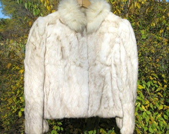 Fun Vintage c 1980's Genuine Off White Tan Neutral  Rabbit Fur Coat or Jacket  Made in Hong Kong Size L Large - Poofy Sleeves & Big Collar
