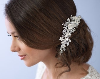 Floral Bridal Comb, Bridal Hair Accessories, Rhinestone Wedding Comb, Floral Hair Accessories, Rhinestone Bridal Comb ~TC-2223