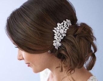 Rhinestone Hair Comb, Pearl Bridal Hair Comb, Vintage Wedding Hair Comb, Bridal Hair Accessory, Bride Headpiece, Bridal Hair Clip ~TC-2228