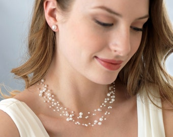Bridal Jewelry Set,Bridal Accessories, Pearl 6 Row Illusion Necklace and Earring Set, Elegant Bridal Jewelry Set, Bride To Be ~JS-524