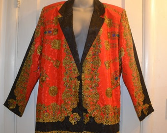 vintage BAROQUE CHains GLITZ glam Scarf Print royalty Blazer JACKET m