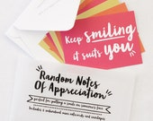 Teacher Gift - Random Notes of Appreciation - set of notecards - notelets with envelopes, card set, colourful notecards, witty phrases