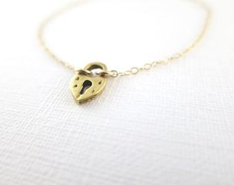 Tiny Heart Padlock Bracelet- Gold Filled Chain