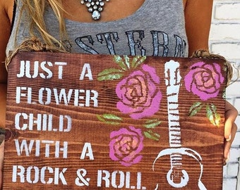 Just A Flower Child with a Rock & Roll Soul / guitar decor/ wood sign / urban outfitters decor