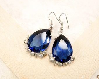 Big blue crystals earrings