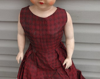 Vintage Flexible 23 inch Doll with Curly Hair, Blue Eyes and Long Dress