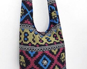 Women bag Handbags Cotton bag Elephant bag Hippie Hobo bag Boho bag Shoulder bag Sling bag Messenger bag Tote bag Crossbody bag Purse Black