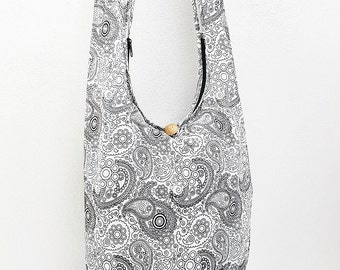 Women bag Handbags Cotton bag Hippie bag Hobo bag Boho bag Shoulder bag Sling bag Messenger Tote bag Crossbody bag Purse Paisley White Black