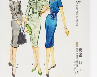 McCalls 5095 - Misses Dress in Three Versions - Vintage 1959 Pattern - Size 16 Bust 36