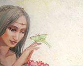 The Ever Young - Open Edition Giclee Fantasy Art Print Abstract Illustrative Portrait Girl Luna Moth Painting EnchantedEtsy
