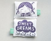 Scented organic lavender pillow made with linen.  Silk-screen printed sleeping girl with sweet dream cloud reverse.