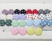 Polka Dot Fabric Covered Button Earrings - Stud Earrings - Large Stud Earrings - Surgical Steel - Nickel Free earrings - Vintage look