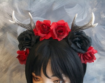 "4"" Faun Antlers Headband / Red and Black Roses"