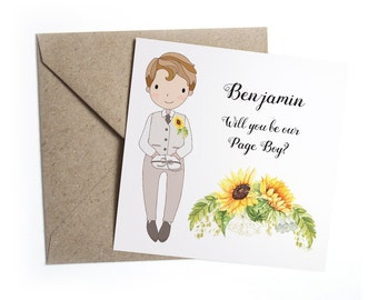 Will You Be My Page Boy Usher Card - Personalised Floral Wedding Sunflower Rustic, Flower Girl Card, Bridesmaid, Ring Bearer
